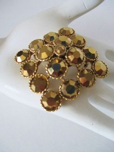 Vintage WEISS Pin Brooch Gold Rhinestones Gold Plate Stacked Diamond Design #Weiss #StackedDiamond