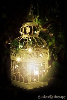 Outdoor Lighting Ideas for the Garden - - Birdcage outdoor garden light – Let the birds fly free and fill a birdcage with string lights! See the project Instructions plus 20 more ideas for creative outdoor lighting! Outdoor Garden Lighting, Landscape Lighting, Outdoor Gardens, Solar Chandelier Outdoor, Garden Lighting Ideas, Outside Lighting Ideas, Outdoor Projects, Garden Projects, Garden Crafts