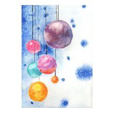 Original watercolor christmas tree balls Christmas by MilkFoam, $10.00