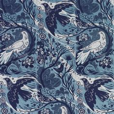 Mark Hearld - Doveflight fabric - Blue/Blue