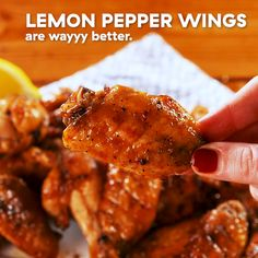Lemon pepper chicken is one of our most popular recipes ever, and it's easy to understand why. Even with only a few ingredients, it has SO. The same can be said for these wings. Baked Chicken Wings, Chicken Wing Recipes, Lemon Pepper Chicken Wings Recipe Baked, Easy Healthy Recipes, Easy Meals, Lemon Pepper Wings, Enjoy Your Meal, Chicken Stuffed Peppers, Popular Recipes