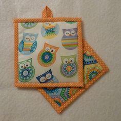 Owl Pot Holder, Owl Hot Pad, Housewarming Gift, Hostess Gift by QueenBeeStitcheryTX on Etsy
