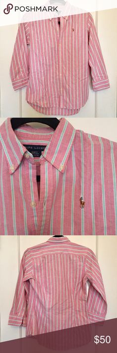 Ralph Lauren Striped Oxford Shirt Preppy striped button down by Ralph Lauren - a closet staple! Features 3/4 sleeves with buttoned barrel cuffs, back darts, shirttail hem, and the signature embroidered pony at the left chest. Ralph Lauren Tops Button Down Shirts