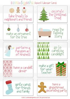 a little delightful: {printable} Advent Calendar Activity Cards Have just printed these out and they are amazing! cant wait to use them this year :-)