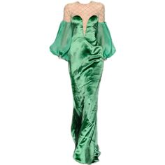satinee.polyvore.com - Rani Zakhem Couture ❤ liked on Polyvore featuring dresses, gowns, satinee, the dresses, green dress, green evening gown, couture ball gowns, green color dress and green ball gown
