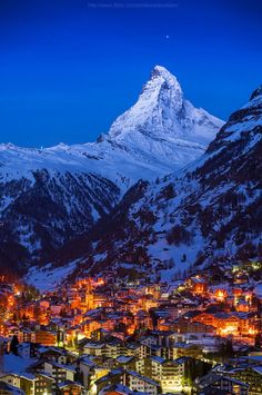 Good night Matterhorn, Zermatt, Switzerland (by Weerakarn). Beautiful and peaceful Zermatt. Places Around The World, Oh The Places You'll Go, Places To Travel, Places To Visit, Around The Worlds, Zermatt, Wonderful Places, Beautiful Places, Adventure Is Out There