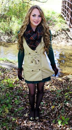 Trench Coat Style Vest, Hunter Green Dress, Plaid Scarf and Tory Burch Shoes! Fall Outfit Inspiration
