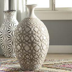 Tall Ivory Earthenware Floor Vase