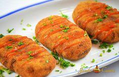 Crochete de cartofi cu carne tocata ( video) din Carte de bucate, Mancaruri. Specific Romania. Cum sa faci Crochete de cartofi cu carne tocata (reteta video)