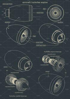 Turbofan engine blueprints Set by Blacklight on Mechanical Engineering Design, Mechanical Design, Automotive Engineering, Aerospace Engineering, Aircraft Maintenance Engineer, Aviation Blog, Turbofan Engine, Industrial Design Portfolio, Isometric Drawing