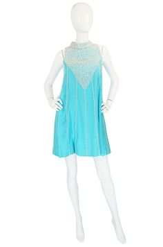 1960s Heavily Beaded Turquoise Linen Swing Dress