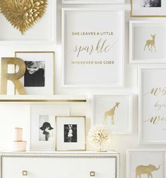 Silhouettes of iconic animals in gold metallic foil. A touch of shine in the nursery.