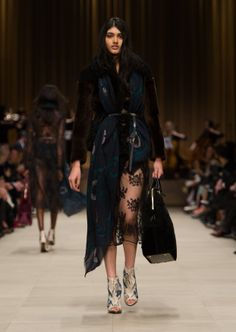 Patchwork shearling jacket with embroidered-lace tulle dress and The Bloomsbury bag