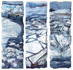 Sandra Meech produced mixed media textiles inspired by the Arctic landscape and Inuit work. Art Textile, Textile Artists, Textile Design, Earth Air Fire Water, A Level Textiles, Textiles Techniques, Water Art, Landscape Quilts, A Level Art