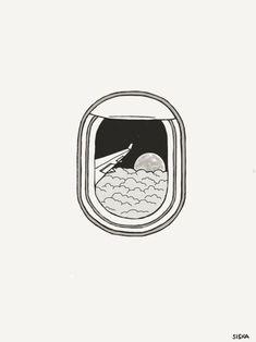 Lieber Mond, - - rustic - Lieber Mond, – – rustic The Effective Pictu - Doodle Drawings, Easy Drawings, Doodle Art, Pencil Drawings, Window Drawings, Airplane Drawing, Airplane Doodle, Airplane Sketch, Tattoos Motive