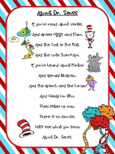 Read Across America Dr Seuss on Best Dr Seuss Images On Pinterest Suess Preschool School