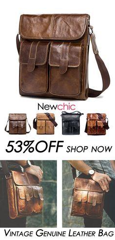 27357f0d3 [53%OFF]Vintage Genuine Leather Shoulder Bag Business Solid Crossbody Bag  For Men