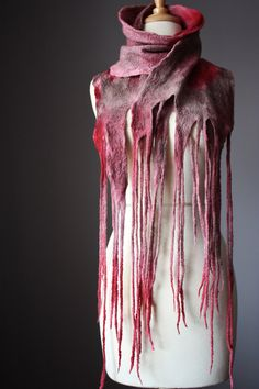 Nuno Felted scarf  Wool  silk Mauve , Gray, Red  hand dyed