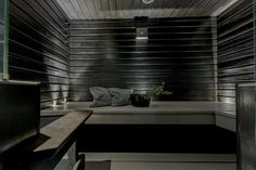 sauna idea + lighting string underneath the benches + dim twinkle lighting Spa Interior, Interior And Exterior, Sauna Ideas, Outdoor Sauna, Sauna Design, Finnish Sauna, Spa Rooms, Home Spa, Twinkle Lights