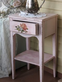 Shabby Chic Pink Table  Cottage Chic Chippy by Fannypippin on Etsy,