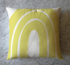 Items similar to Yellow Shape Pillow on Etsy 2 Colours, Pillow Inserts, Color Inspiration, Cotton Fabric, Cushions, Throw Pillows, Shapes, Yellow, Drawings