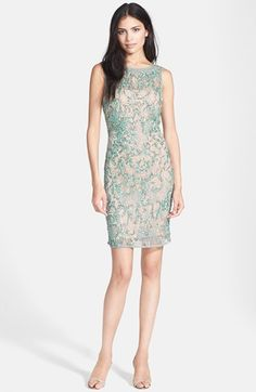 Aidan Mattox Beaded Lace Sheath Dress available at #Nordstrom.  An absolutely gorgeous dress for a black tie or wedding!