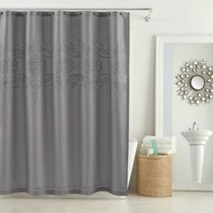 Create a lovely bathroom with the Anthology Scarlet Shower Curtain. Beautifully blending classic and contemporary styling, this curtain features a delicately embroidered eyelet motif that adds a charming layer of depth and dimension to your space. Yellow And Grey Curtains, Tranquil Bathroom, Diy Bathroom Decor, Bathroom Ideas, Bath Ideas, Bathroom Remodeling, Minimalist Sofa, Narrow Living Room, Simple Home Decoration