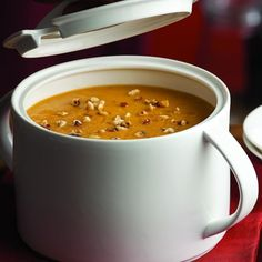 Autumn lovers rejoice! We're bringing our first day of fall A-game with this Roasted Pumpkin-Apple Soup recipe. #FallFresh