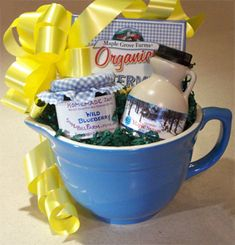 Batter bowl gift basket (See Gift Wrap board for more sustainable wrapping ideas.)