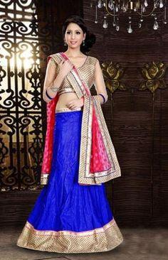 Royal Blue, Dark Pink & Beige Silk Lehenga Choli ,Indian Dresses - 1