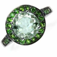 3.75ct Green Amethyst&Chrome Diopside GP Sterling Silver Cocktail Ring Silvershake. $83.69