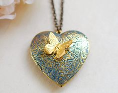 Heart Locket Necklace Butterfly locket necklace Large by LeChaim