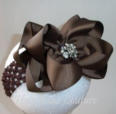 Brown Large Double Layered Boutique Hair Bow by Hairbowscouture, $9.00