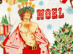 1/2YD Sexy Hunks HURRY DOWN THE CHIMNEY Holiday Pinup Guys A Henry Christmas…