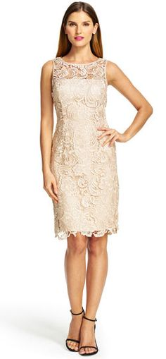 This stunning and figure-enhancing lace sheath dress features a rich satin  trim at the 85fb251f4c0