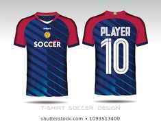 Red and blue layout football sport t-shirt design. Template front, back view. Soccer kit national team shirt mock up. Soccer Kits, Football Kits, Jersey Designs, Soccer Outfits, Applique Pillows, Lettering Styles, Team Shirts, Sport Wear, Adidas