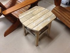 Adirondack side table made from old cedar fence panel.