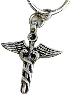 """Amazon.com: Unique & Custom 1 Single Medium Size """"Split"""" Circle Keychain Ring Made of Pewter w/ Medical Caduceus Nurse & Doctor Symbol Style Charm Made of Metal {Silver Color}: Automotive"""