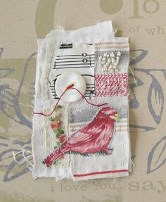 Stitched and embroidered mini textile art, bird and gorgeous vintage button