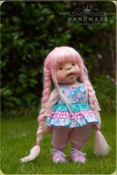 Miss Candy Floss. Pink-haired doll. Waldorf by kiwinestling
