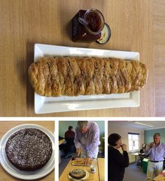 """Week 7 for the #CFA #GBBO today and we had two very different bakes to judge. 1st up was a sausage plait baked by James and that was against a flour-less chocolate cake by Simon The Sausage Plait won the day for James with both judges giving it a unanimous vote and the audience chiming in with comments like """"It Smells Like Christmas"""""""