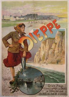 Dieppe Artist: Hugo d'Alesi 1900 Linen backed