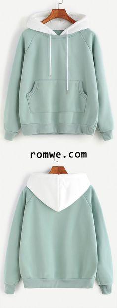 sports shoes bffcf 07335 Pale Green Raglan Sleeve Pocket Sweatshirt With Contrast Hood