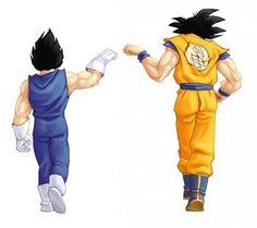 Goku y Vegetta clebrando que han ganado