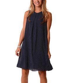 Look what I found on #zulily! Navy & White Polka Dot Shift Dress #zulilyfinds
