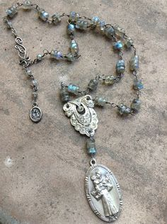 Upcycled Vintage Saint Anthony Religious Labradorite Assemblage Necklace,OOAK,Repurposed,Religious Necklace,Vintage Dress clip, Rhinestone on Etsy, $74.00