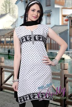 Black & White Cotton Embroidered Kurti/ Indian Tunic Top