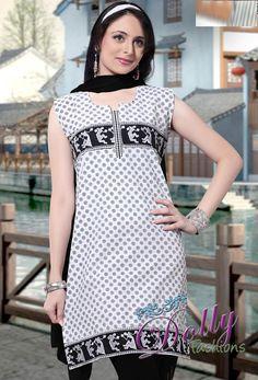 Black & White Cotton Embroidered Kurti/ Indian Tunic Top
