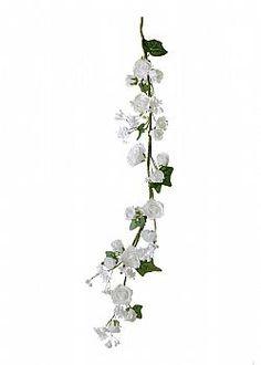 Wedding Scene - Διακοσμητική γιρλάντα με λευκά τριαντάφυλλα, 100cm Plants, Plant, Planets