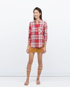 CHECK SHIRT WITH POCKET from Zara
